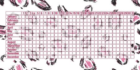 Menstrual period calendar. Monthly woman menstruation control. Vector illustration. Empty table. Leopard print skin.