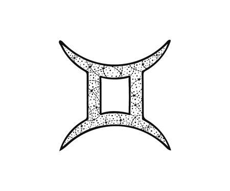 Gemini zodiac sign. Astrological horoscope. Vector illustration. Tangle pattern. Coloring book