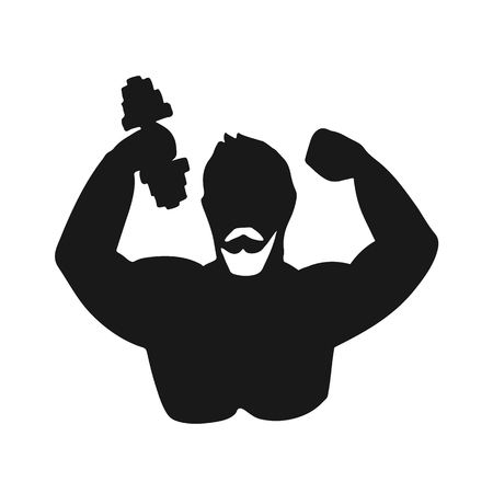 Silhouette of athletic man. Vector illustration. Black and white icon.