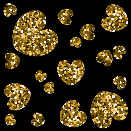 Gold shape of hearts on black background. Vector illustration sequins.