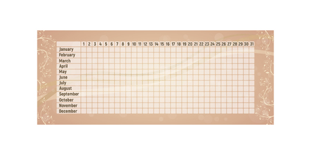 Menstrual period calendar. Monthly woman menstruation control. Vector illustration. Empty pink table. Ilustração