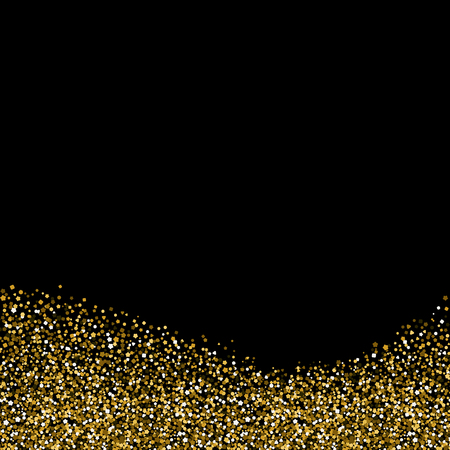 Greeting card with Golden bright sequins. Glitter at the bottom. Vector illustration of sparkle. Dark background. Vector Illustration