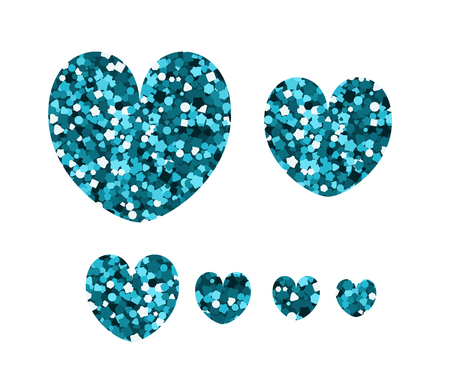 Set of luxury icons in the shape of hearts. Vector illustration. Blue spangle.