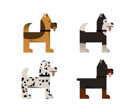 Dogs stand. Doberman, shepherd, husky and dalmatian gives a paw. Vector illustration. Flat icons set. Illustration