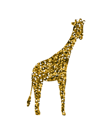 Silhouette of a camelopardalis. Vector illustration. Simple icon. Gold sequins Illustration