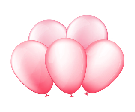 Bunch of pink balloons. Birthday gift. Vector illustration