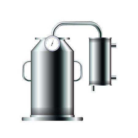 An industrial distiller. Vector illustration. Distill water