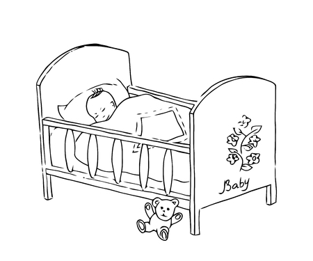 Baby bed. Newborn vector illustration. Sketch of crib for the kid. Vectores