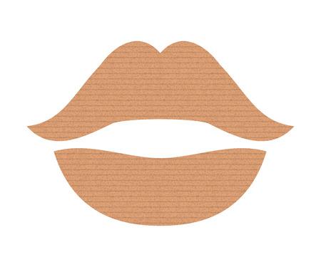 Abstract lip icon. Vintage cardboard texture. Vector illustration. Glamour
