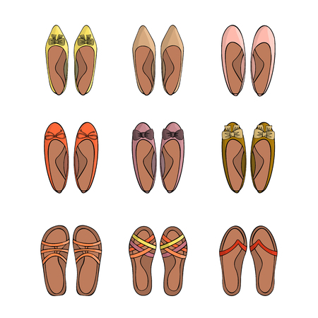 Woman summer shoes. Icons set. Vector illustration