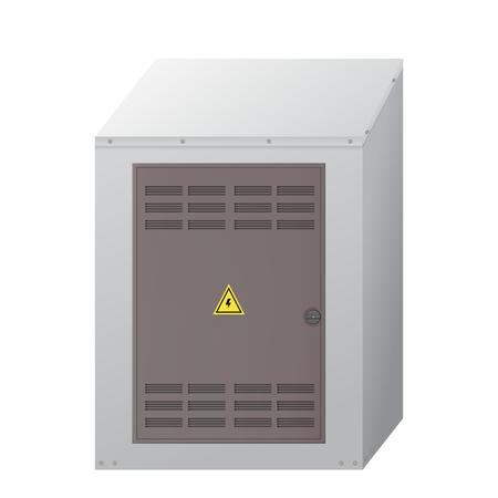 Caja electrica. Ilustración de vector de instalación eléctrica. Equipo industrial