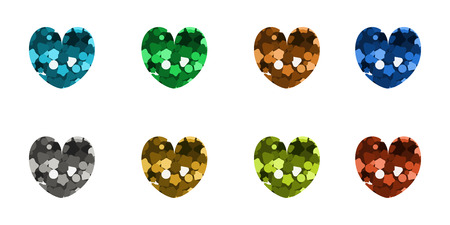 Set of icons in the shape of hearts. Vector illustration. Multicolored glitter.