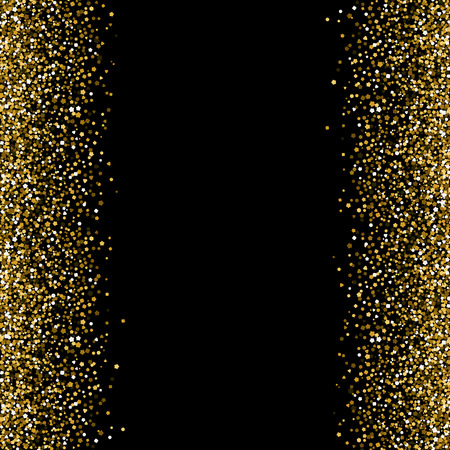 Banner with gold sequins. Right and left.. Vector illustration. Black background Illustration