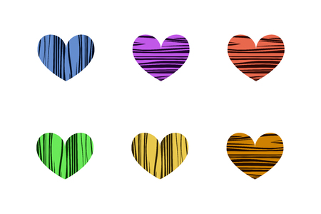 Bright striped hearts. Vector illustration. Set of icons. Valentines day