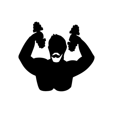 Silhouette of sportsman. Vector illustration. Black and white icon.