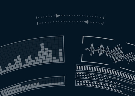 The screen with the audio program. Volume equalizer. Music setting. Vector illustration.
