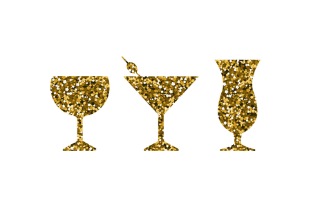 Gold abstract cocktail icons set. Silhouette with sequin. Vector illustration.