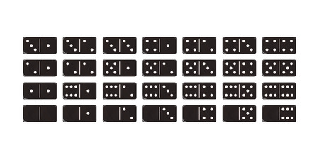 The game of dominoes. Set of black blocks. Vector illustration domino.
