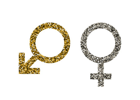 Men women symbol. Vector illustration. Golden and silver sequin. Mars, Venus
