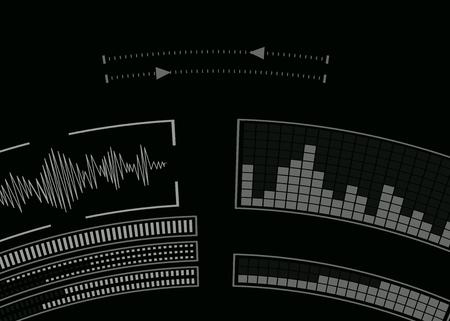The screen with the audio program. Music setting. Vector illustration. Иллюстрация