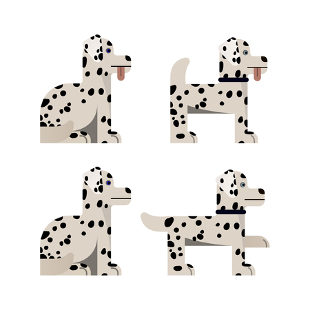 Set of flat icons with Dalmatian. Pedigree dog. Sitting and standing. Vector illustration. Иллюстрация