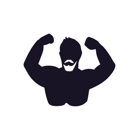 Icon of bodybuilder. Vector illustration. Black and white stylized silhouette.