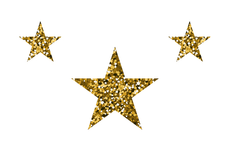 Gold stars shape on white background. Vector illustration. Bright decoration.