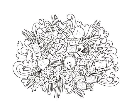 New year doodle design. Coloring book. Vector illustration Çizim