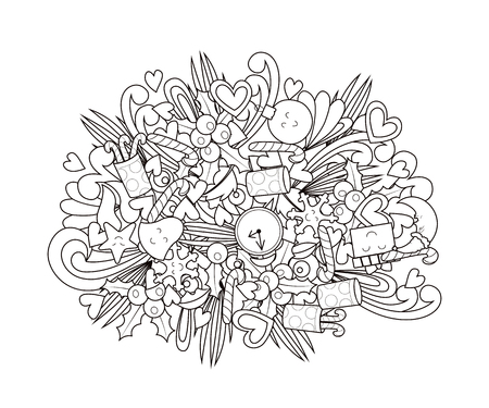 New year doodle design. Coloring book. Vector illustration Illustration