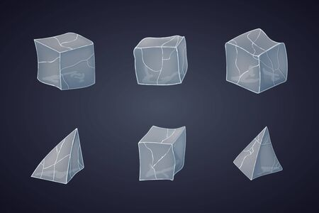 Set of transparency ice cubes and pyramids. Vector illustration. 3D design. Dark background. Ilustrace