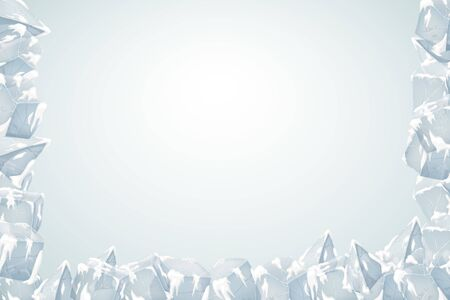 Ice frame. The texture of the ice and snow. Vector illustration. Valentines Day Card.