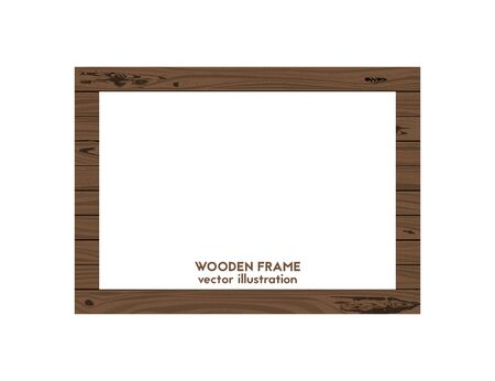 Square frame made of wood. Vector illustration. Wooden texture.