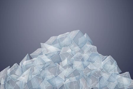 Transparent ice heap. Vector illustration. Dark background. 矢量图像
