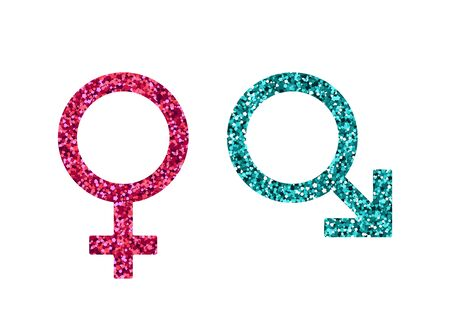 Men women abstract symbol. Vector illustration. Pink and blue sequin. Mars, Venus
