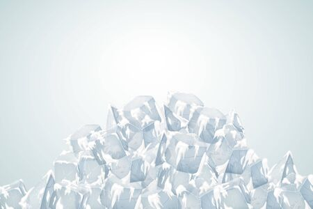Translucent snow with ice. Vector illustration. Big heap.
