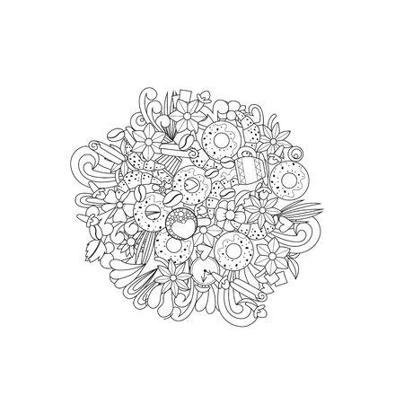 Coffee cups design. Doodle pattern. Vector illustration Illustration