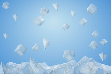 Ice cube falling down. Vector illustration. Blue background 矢量图像
