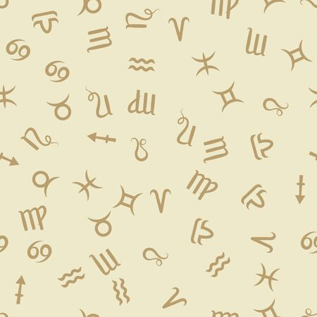 Zodiac sign. Beige seamless pattern background. Astrological horoscope. Vector illustration