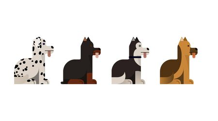 Dogs sit. Doberman, shepherd, husky and dalmatian gives a paw. Vector illustration. Flat icons set. Illustration