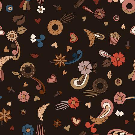Coffee doodle. Seamless pattern. Vector illustration. Latte cappuccino espresso mocha