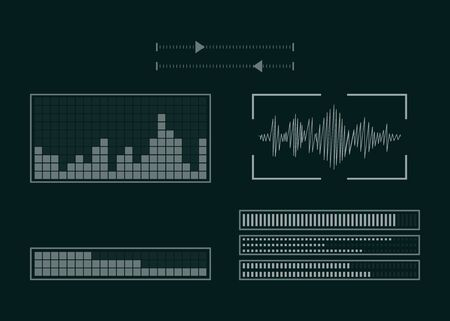The screen with the audio program. The set of equalizer. Sound setting. Vector illustration. Ilustração