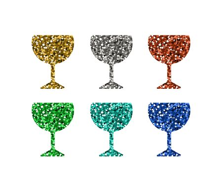 Abstract wine icons set. Silhouette with spangle. Vector illustration.  イラスト・ベクター素材