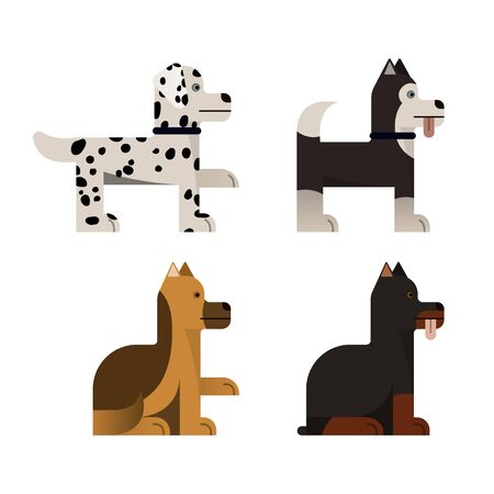Pedigree dogs sits and stand. Vector illustration. Flat icons set.