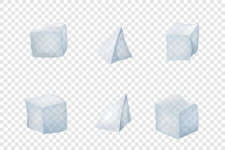 Set of transparency ice cubes. Vector illustration. 3D design.