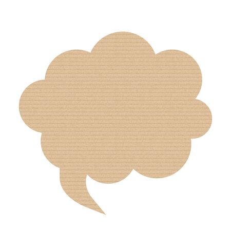 Bubble speech is in the shape of a cloud. The texture of the cardboard. Vector illustration. The message banner. Stock Illustratie
