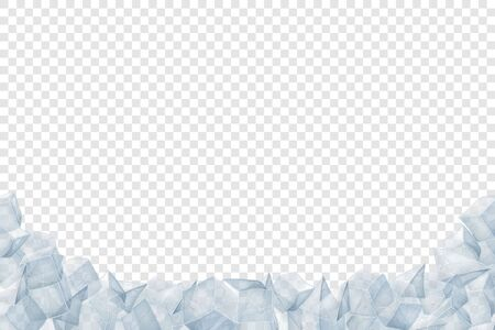 Ice heap. Translucent icy pile. Vector illustration. Winter desin.