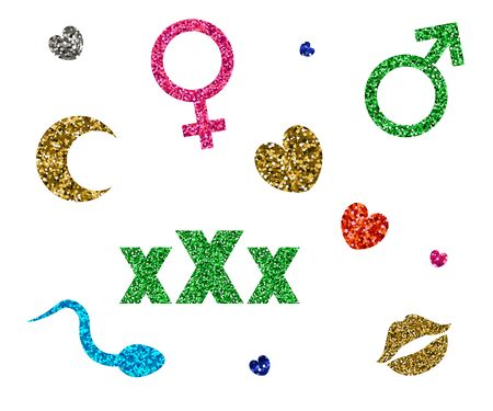 Set of icons XXX, moon, lips, heart, sperm. Vector illustration Tinsel and spangle