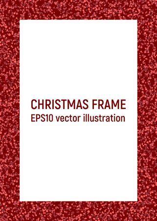 Christmas frame. Red confetti. Vector illustration. Glitter glittering card