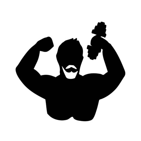 Icon of body builder. Vector illustration. Black and white stylized silhouette.