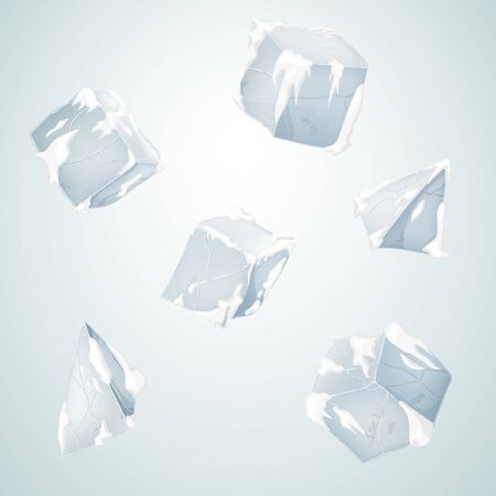 Ice and snow blocks. Transparency ice cubes and pyramids. Vector illustration. 3D design. White background.